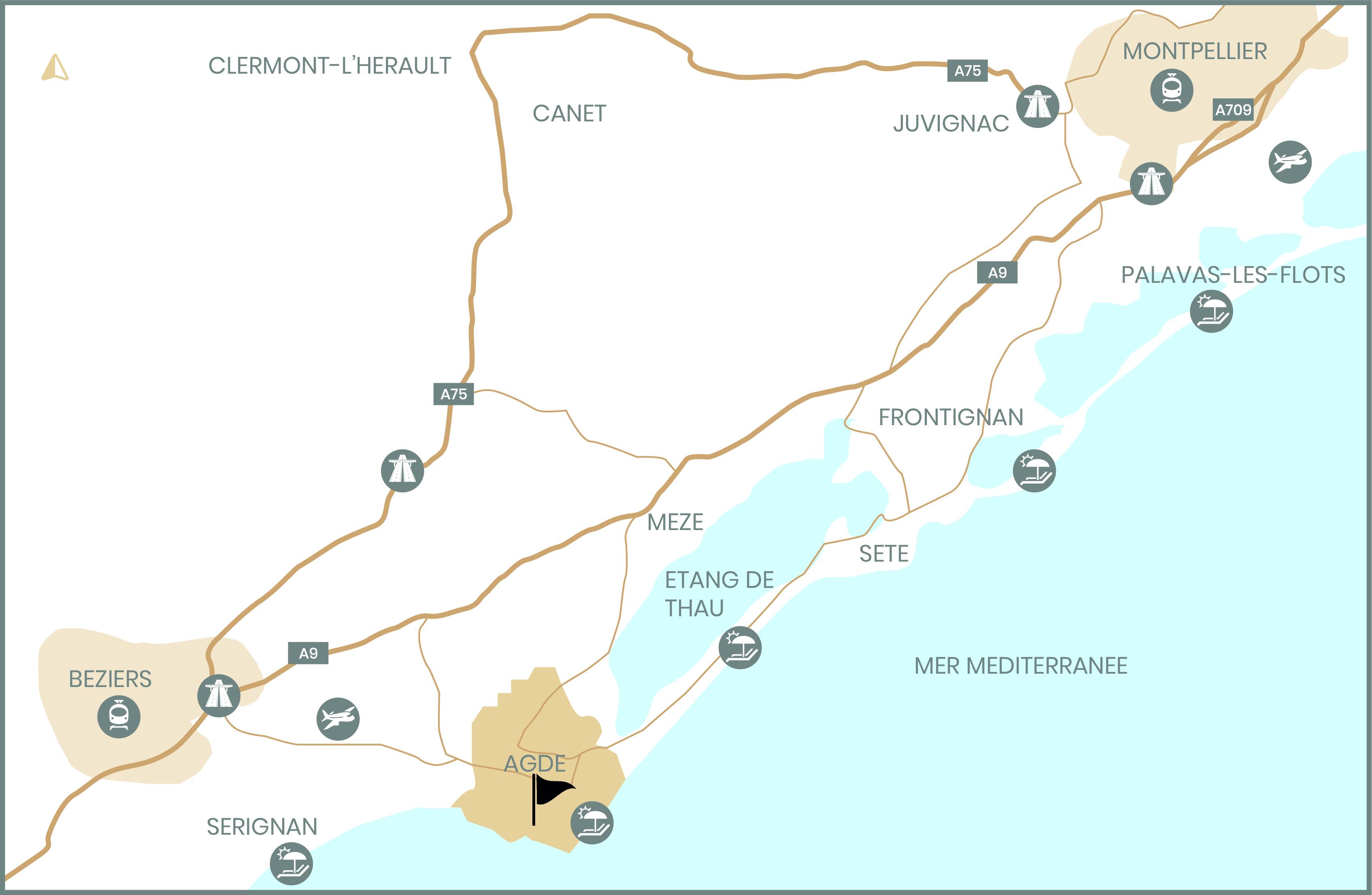 Carte des environts de la ville de Agde dans l'Hérault. Création visuelle par l'agence de communication Tamline www.tamline.fr Montpellier, Beziers, Sete,