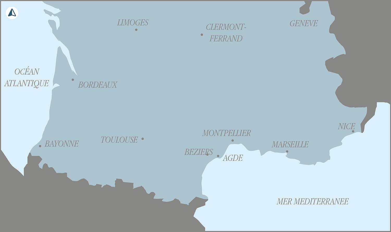 Carte de Ludovic Liron illustrant les résidences en cours de travaux sur la cote mediterranéenne