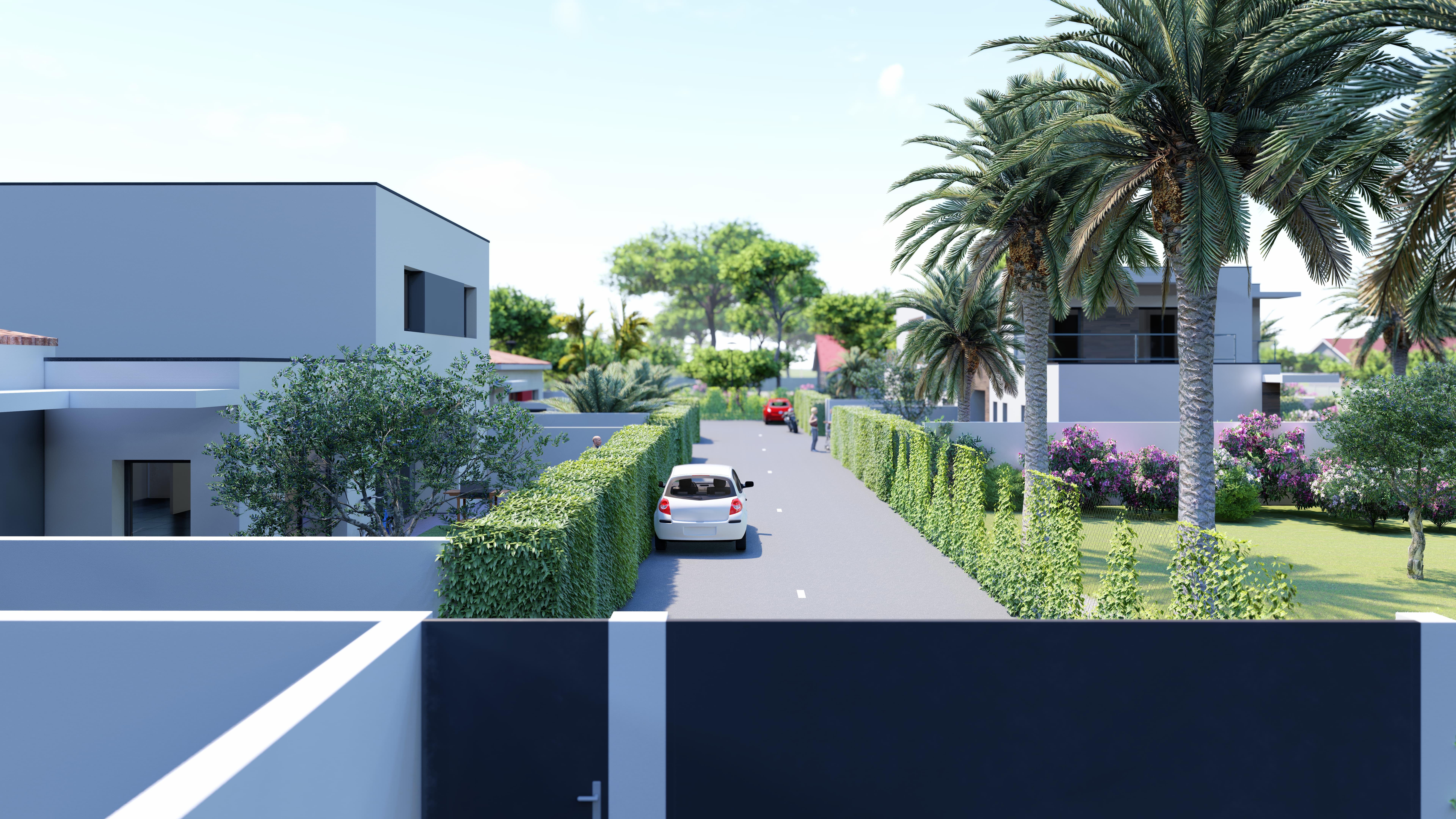 Perspective de programme immobilier Les Villas Du Beau Temps à Agde dans l'Hérault. Opération signée LLZ. Perspective réalisée par l'agence de Communication Tamline